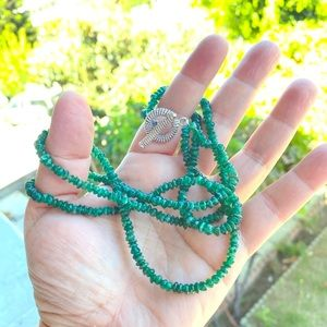 Natural Rough emerald necklace 925 SS SILVER USA